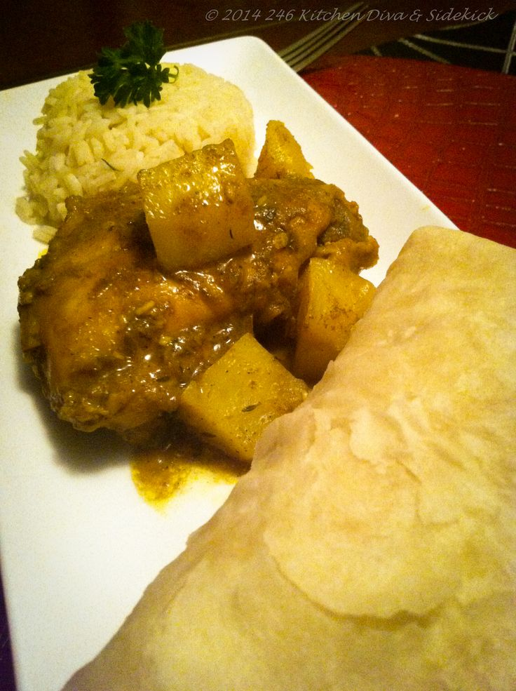 Curry chicken and potato. Have it with rice or roti. Recipe coming soon.