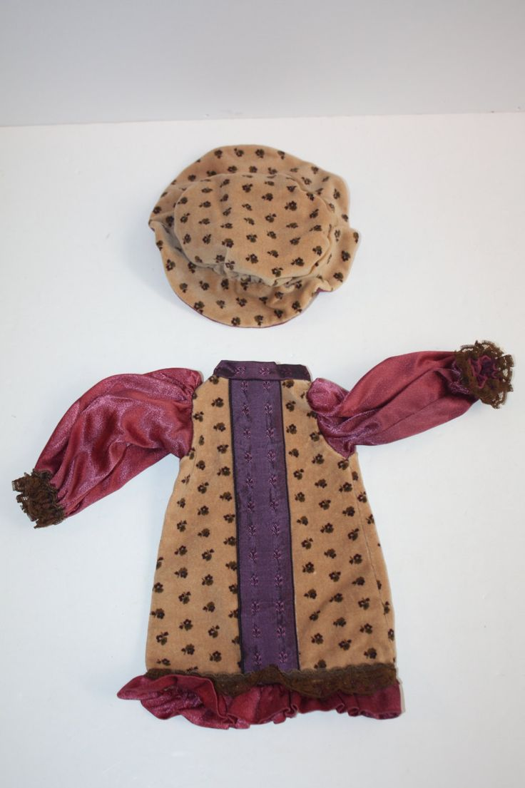 Vintage Handmade Velvet Doll Clothes/Velvet Doll Hat, Dress/Tan Floral Velvet Doll Clothing/Doll Accessories/Small Doll Dress/Millinery by DebiLynneVintage on Etsy
