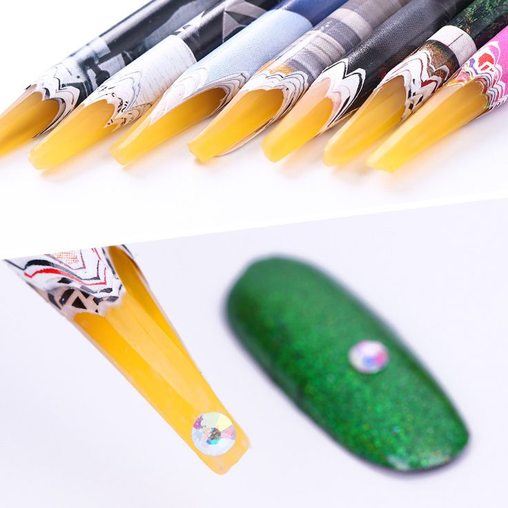 1Pc Nail Easily Picking Up Rhinestone Picker Pen Wooden Wax Pen Nail Manicure Tool Random Color