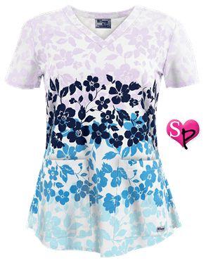 Grey's Anatomy Scrubs Lanai Floral Print Top Style # GA4138LN #uniformadvantage #uascrubs #floral #scrubs #fashionscrubs