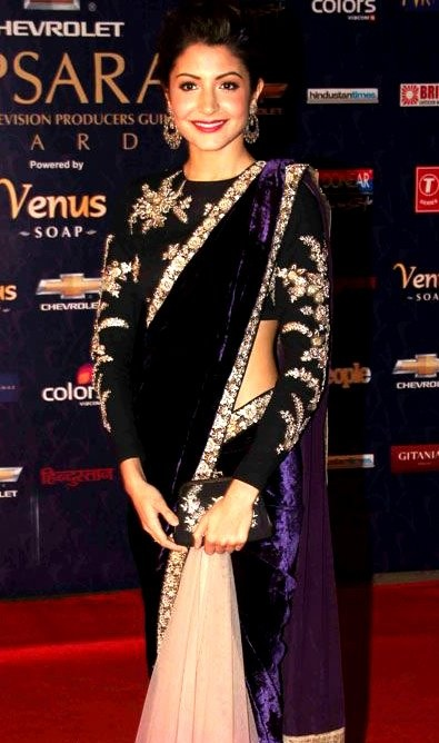Anushka Sharma in an Indigo Velvet Saree. #AnushkaSharma