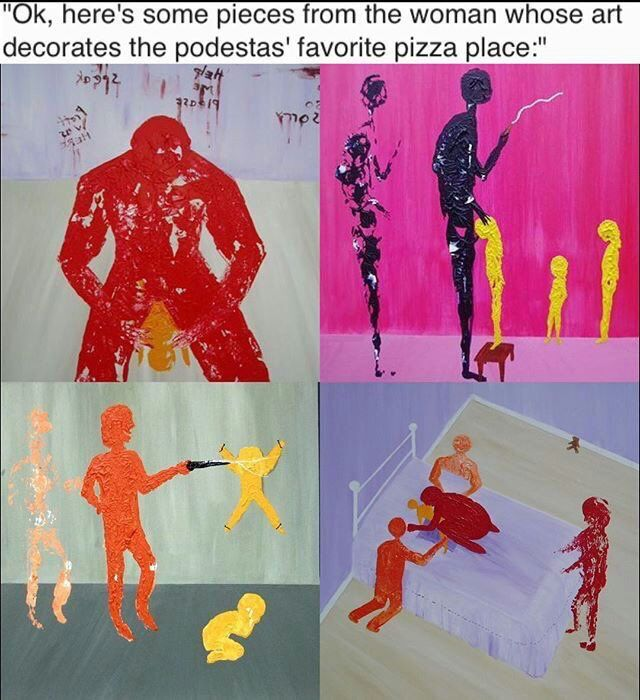 "DISGUSTING! ""Art"" from the woman who decorated the Podesta's favorite restaurant #pizzagate https://twitter.com/maga_swaga/status/800154825853763584"