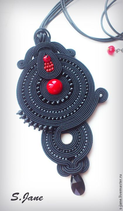 Pendants handmade.  Order pendant.  Red and black .. Eugene.  Fair Masters.  Soutache, sutazhny pendant, coral