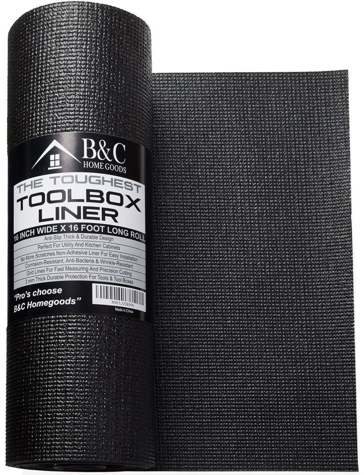 Professional Tool Box Liner and Drawer Liner - Black 16 inch x 16 feet Non-Slip Shelf Liner Is Perfect For Protecting Your Tools - These Thick Cabinet Liners Are Easily Adjustable To Fit Any Space