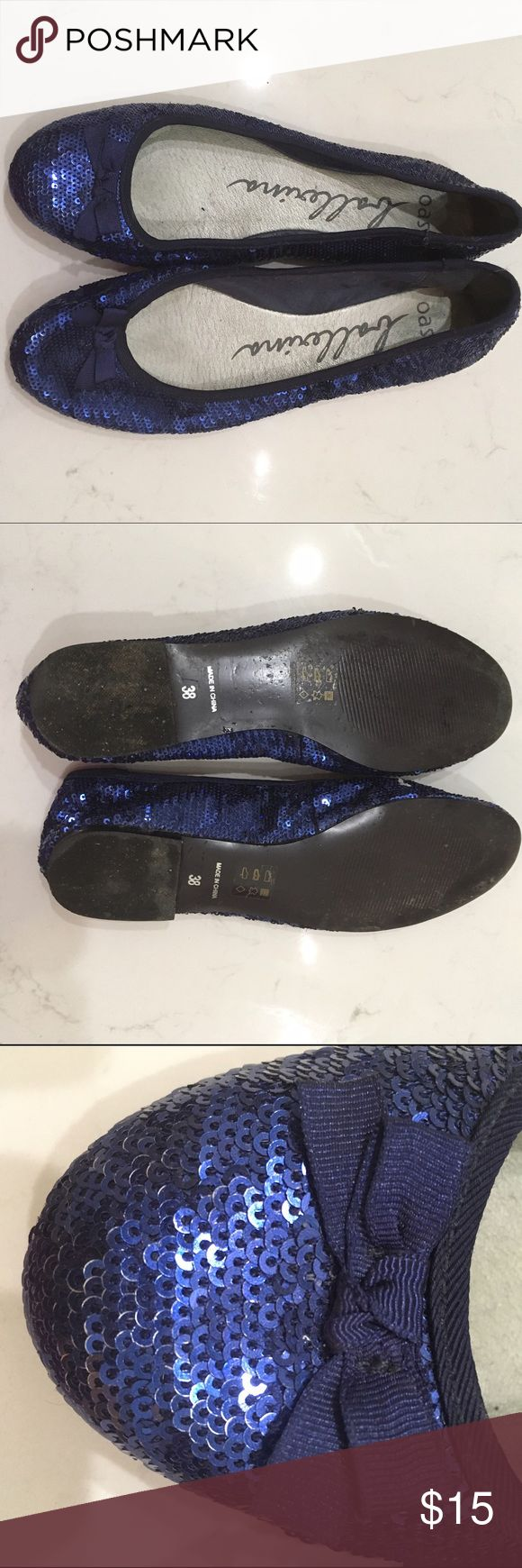 GLITZY BLUE SEQUIN BALLET FLATS. SIZE 8 PREVIOUSLY OWNED. WOVEN BOW DETAIL. oasis Shoes Flats & Loafers