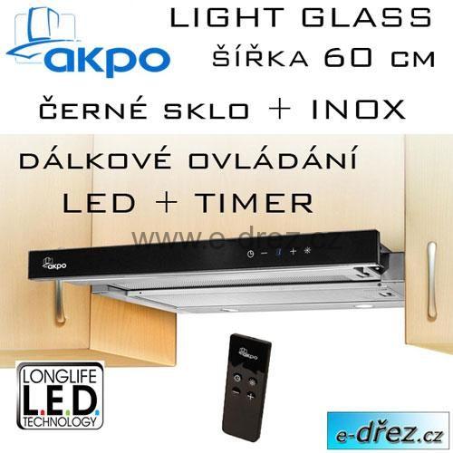 Digestoř zn. AKPO model:WK-7 Light Glass NEJNOVĚJŠÍ MODEL 60cm  Popis produktu:  - Typ: komínová / výsuvný -Ovládání:elektronické (dotykový panel