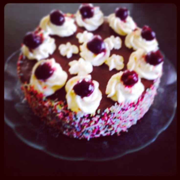 Banana cake #cherries#Chocolate#cream# sprinkles