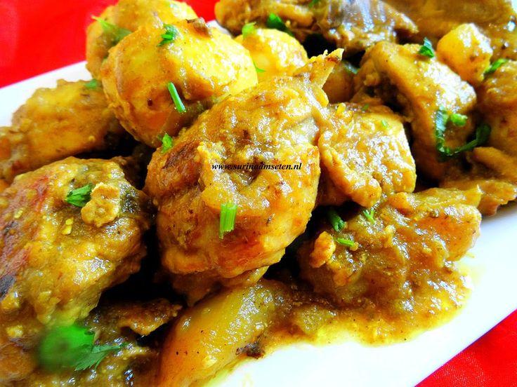Kip masala met aardappel en hardgekookte eieren