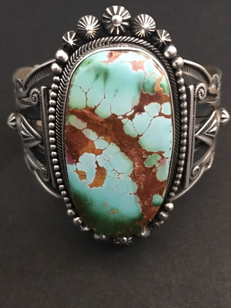 Rare Beautiful Native American Sterling Silver Royston Turquoise Bracelet AT