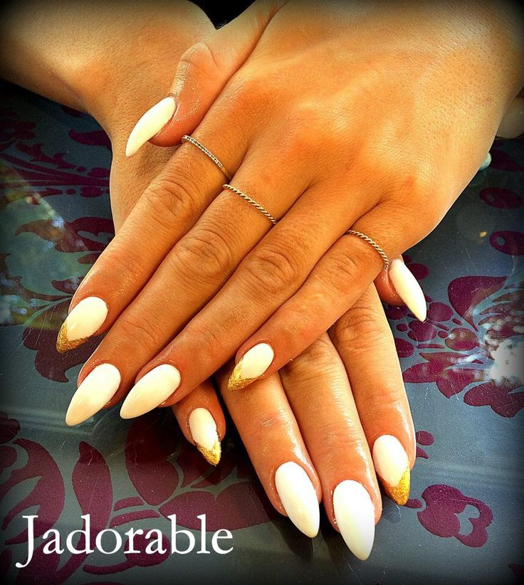 Gold Almond nails!!