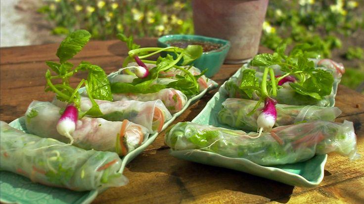 Vårruller med grønnsaker og reker. Husk at det er dipsausen som gjør hele forskjellen på smaken. Oppskrift fra Tareq Taylor i tv-serien Hygge i hagen.