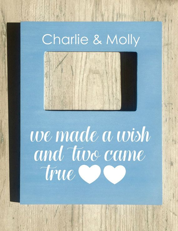 Twin Quote Picture Frame Baby Twins Gift by FourLeafFrames on Etsy