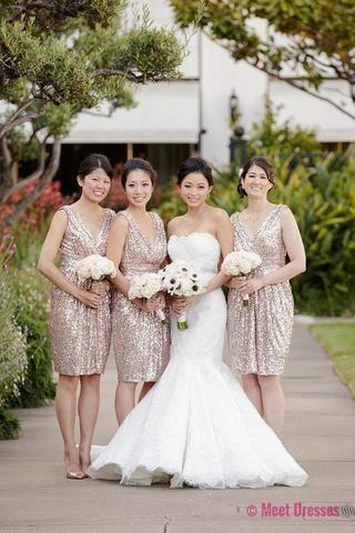 Sequin Bridesmaid Dress,Knee Length Bridesmaid Gown,Sequined Bridesmaid Gowns,Sequins Bridesmaid Dresses,Rose Gold Bridesmaid Gowns For Wedding PD20184696