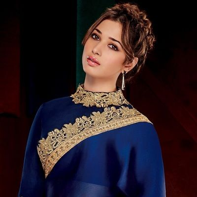 Nevyblue Plain Silk Georgette Actress Saree With Blouse Bollywood Sarees Online on Shimply.com