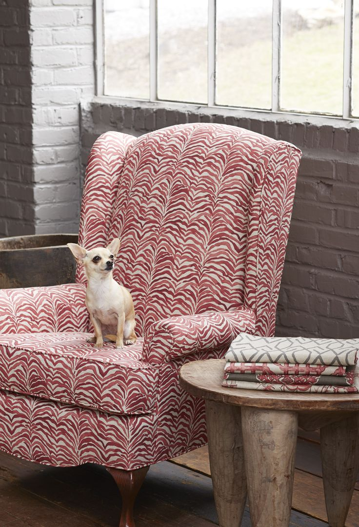 Lacefield Geranium Textile Collection - Serengeti Coral Upholstered Wing  Chair #coral #textiledesigner #madeinthesouth
