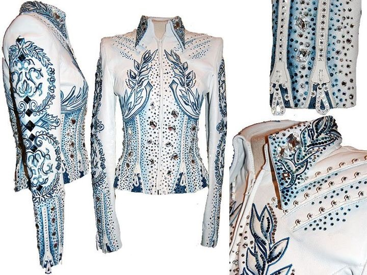 the ultimate western pleasure horse show shirt! The white and blue is super flashy and it has the prefect amount of crystals on it. It is the White and Blue Jacket by Paula's Place, item # 1196 in small. $3,595.00