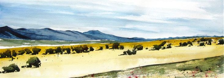 Original art for sale at UGallery.com | On the Front Range by Charles Ash | $975 | watercolor painting | 11' h x 30' w | http://www.ugallery.com/watercolor-painting-on-the-front-range
