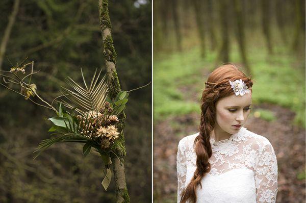 Brautfrisur // Haarketten treffen auf zarte Spitzenkleider und Waldromantik | Friedatheres.com