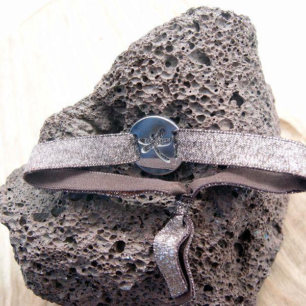 Bracelet ruban élastique pailletté Libellule