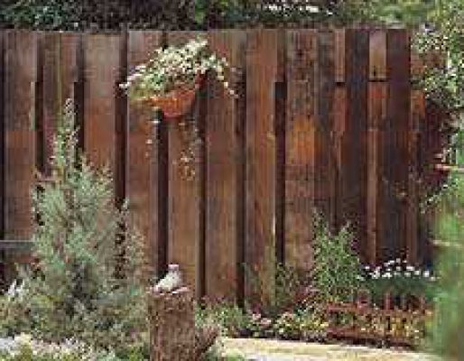 Fence from railway sleepers for the dog garden, can set ...