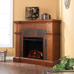 <3 Cartwright Convertible Electric Fireplace Mantel, In Oak <3