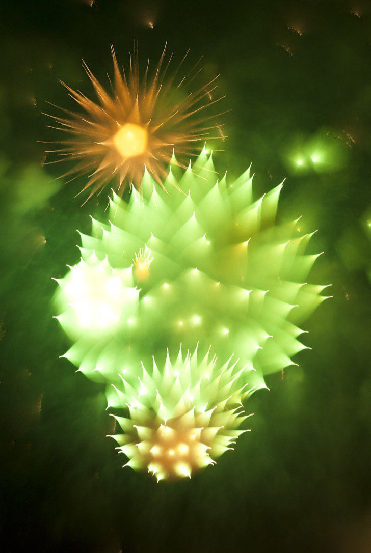 Image of fireworks when a camera is refocused after the initial explosion.