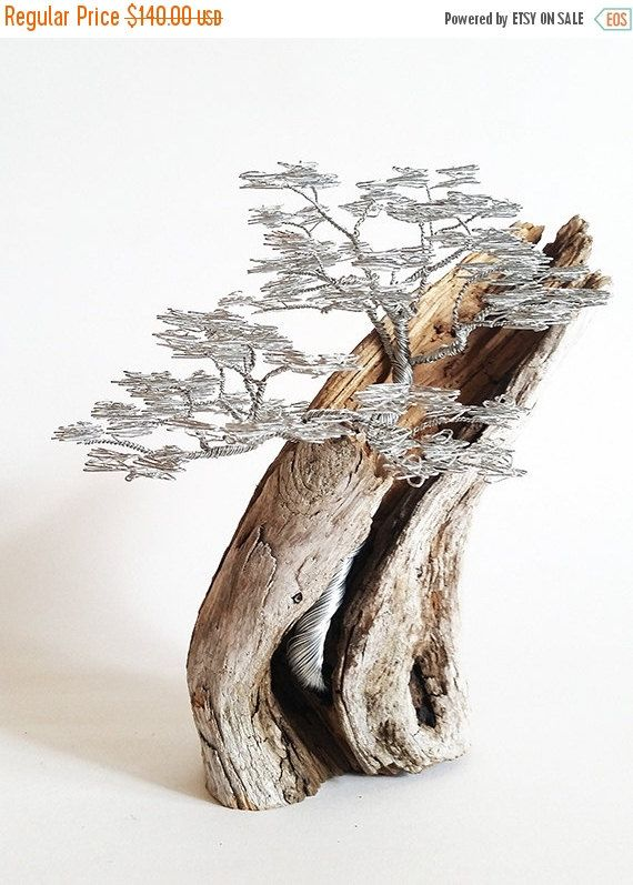 Summer sale Driftwood Sculpture / Driftwood Art by BonsaiWireTree