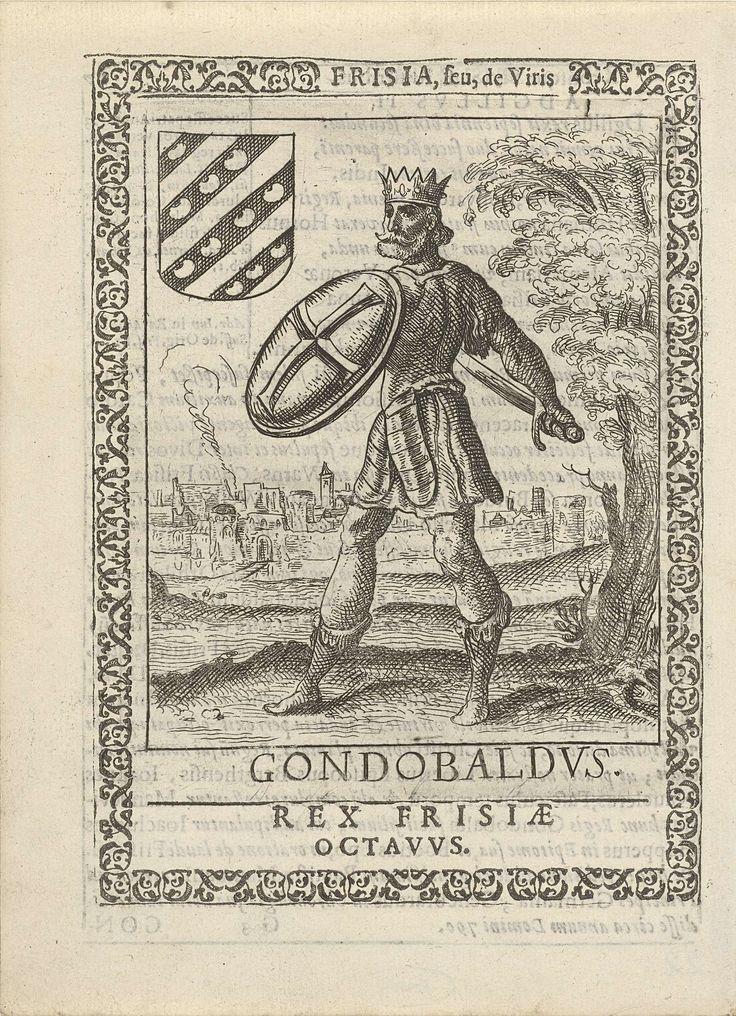 Pieter Feddes van Harlingen   Gondobaldus, achtste koning der Friezen, Pieter Feddes van Harlingen, 1618 - 1620   Gondobaldus (of Gundebold of Adgillis III) achtste koning der Friezen. Staande ten voeten uit, zwaard en schild in de hand. Op de achtergrond een ommuurde stad. Illustratie, met tekst op achterzijde, afkomstig uit het boek: Frisia seu de viris rebusque Frisiae illustribus libri duo.