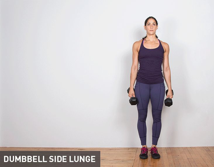 Dumbbell Side Lunge: Standing with feet shoulder-width apart and a pair of dumbbells at your side, take a big step to the side with your left foot, pushing your hips back and lowering your body into a deep lunge position. As you come down, move the dumbbells straight down to the floor so that your chest comes over your left knee. Return to starting position and repeat for reps on both sides.