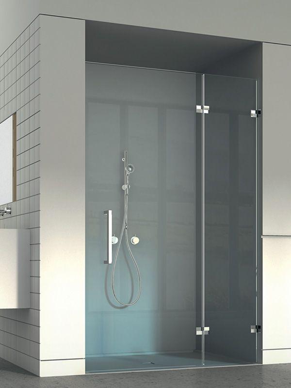 Aquaconcept maatwerk douchedeur Vaststaand deurdeel met in het verlengde een draaideur - Style Concept serie 173