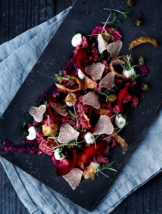 Veal tartar with truffle, beetroot and crispy potato shells