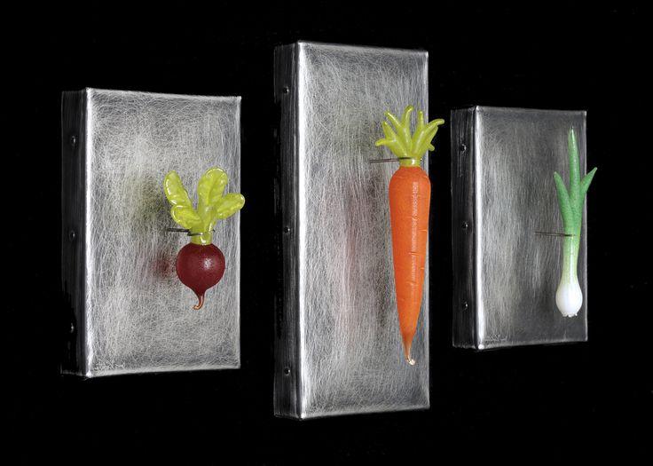 Art Glass, Beautiful hand blown glass root vegetables on stainless steel, radish, carrot & scallion.