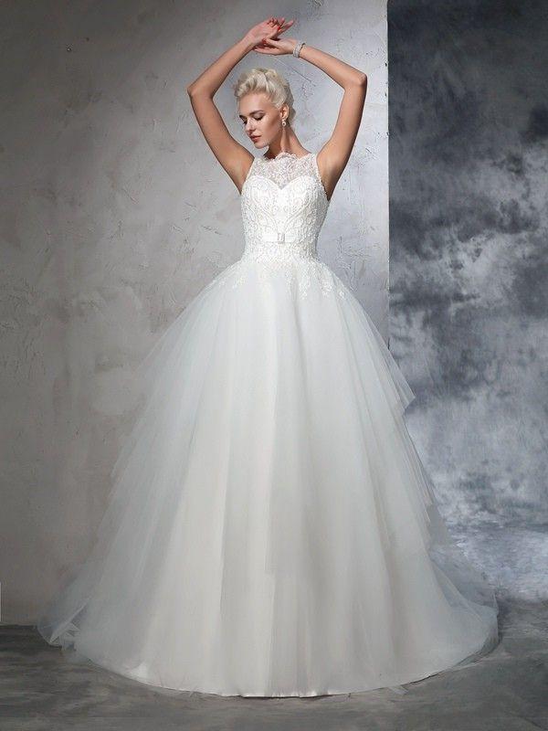 Ball Gown Bateau Applique Sleeveless Chapel Train Net Wedding Dresses DressyWell