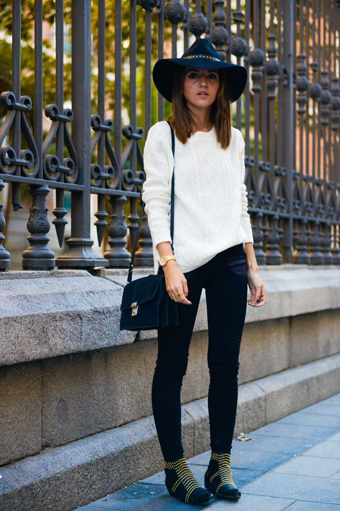 On the Go - Alexandra Pereira wearing Gas Jeans, Anine Bing Booties, Suiteblanco Sweater, Styligion Hat and Mango Bag.
