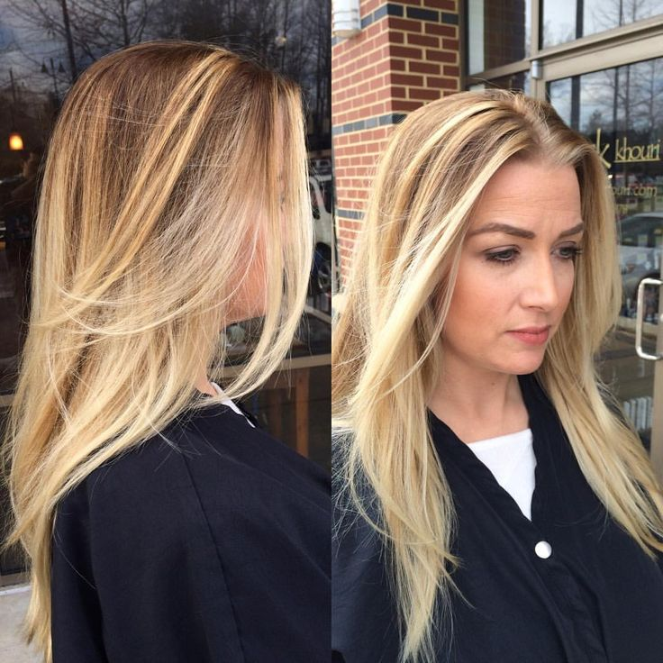 Balayage done by Luke! Touch up plus roots #balayage #highlights #salonkhouri #behindthechair #dc #fairfax #dulles #nova #virginia #freehand #hairpainting