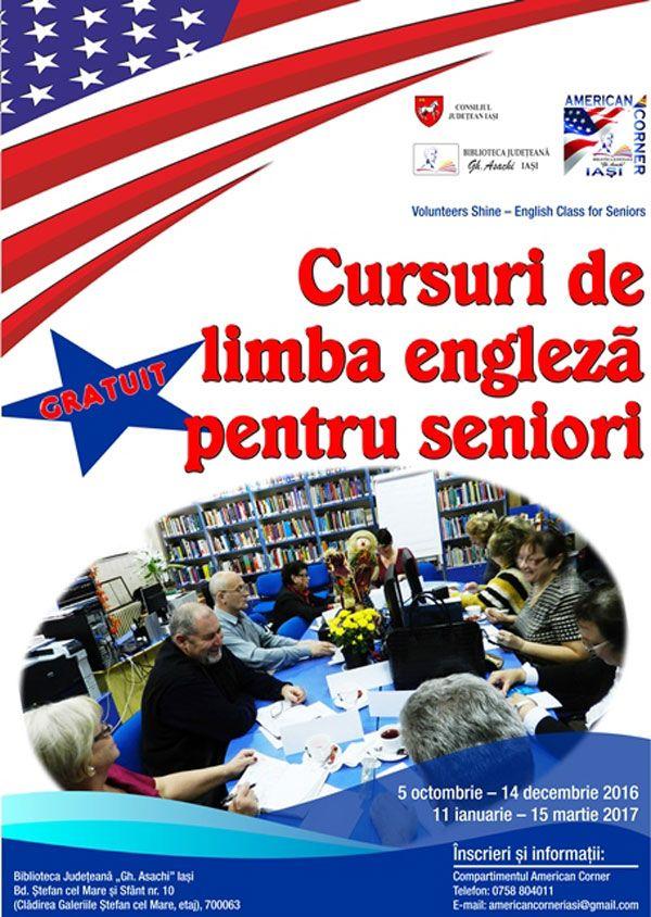 Cursuri gratuite de limbă engleză pentru seniori la American Corner Iași