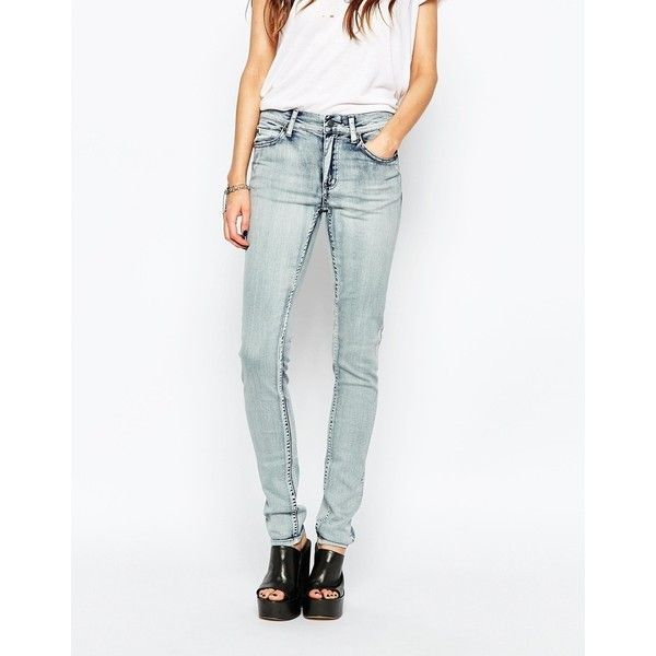Cheap Monday Tight Jeans ($60) ❤ liked on Polyvore featuring jeans, super worn, tall jeans, 5 pocket jeans, white skinny leg jeans, tall skinny jeans and zipper jeans