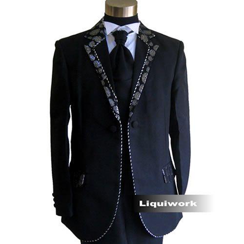 Men Black Retro Vintage Fashion Wedding Prom Dress Suit Clothing Shop SKU-123090