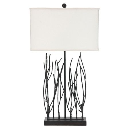 Wrought iron table lamp with branch-shaped detail and a linen box shade.   Product: Table lampConstruction Material: W...