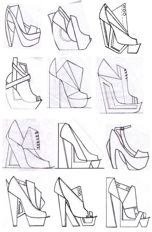 Fashion Sketchbook - footwear design drawings; shoe sketches; fashion portfolio