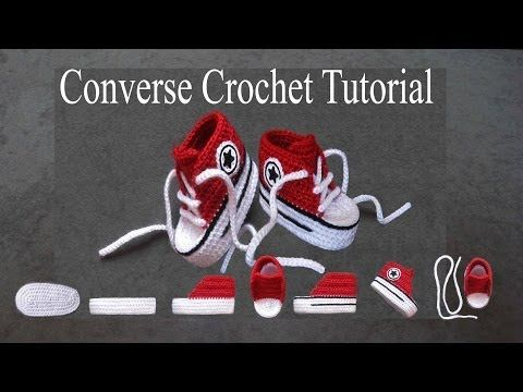 How to crochet nice Baby Converse Shoes easy - YouTube