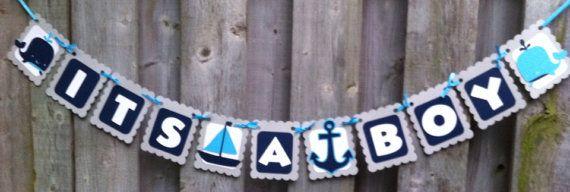 Its A Boy Banner Nautical Theme Banners by LittleMissStarchick