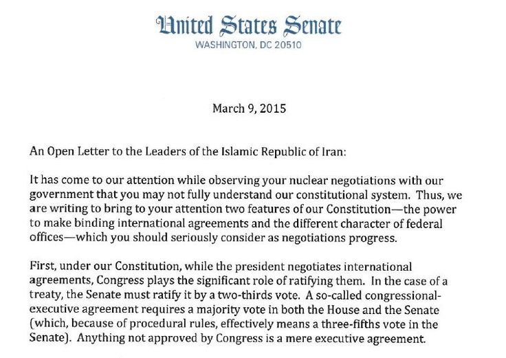 Letter From Senate Republicans to the Leaders of Iran The - executive agreement template