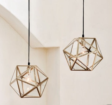 West Elm Faceted Glass Pendant Lamp