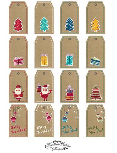 #Etiquetas navideñas gratis descargables para imprimir personalizar y decorar vuestros #regalos de #Navidad