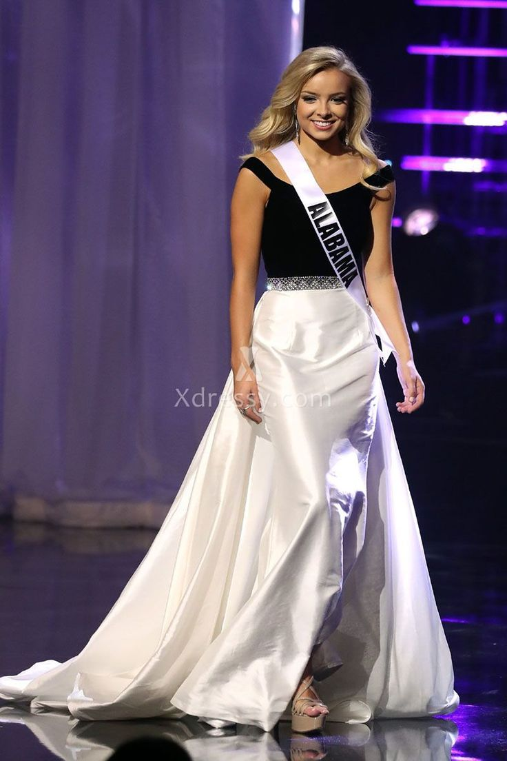 Erin Snow Miss Teen USA 2016 Off the Shoulder Black and White Pageant Prom Dress