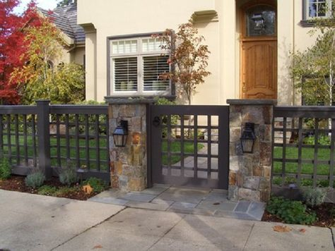 The Best Yet Inexpensive Front Yard Fence Ideas: Fresh Front Yard Wood Fence With Stone Columns – ComQT