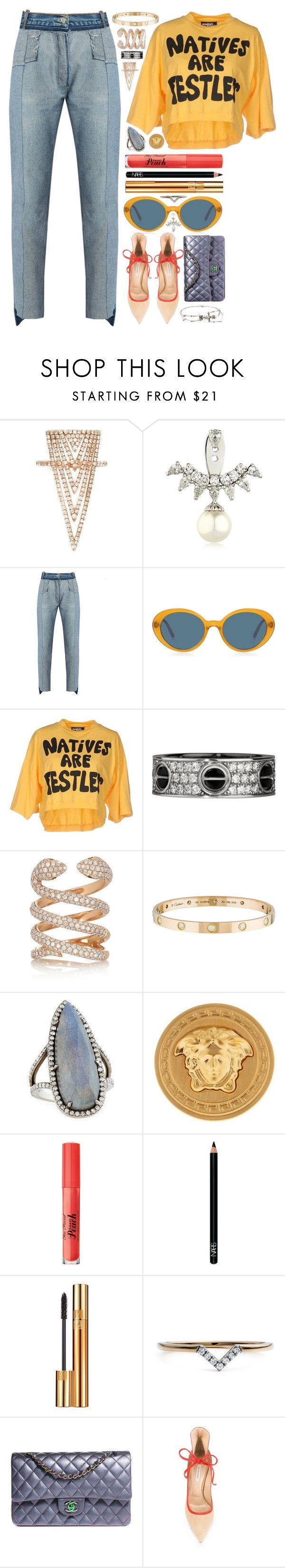 """""""not just the natives"""" by iriskatarina ❤ liked on Polyvore featuring Lauren Craft, Yvonne Léon, Vetements, Oliver Peoples, Jeremy Scott, Anita Ko, Cartier, Sheryl Lowe, Versace and NARS Cosmetics"""