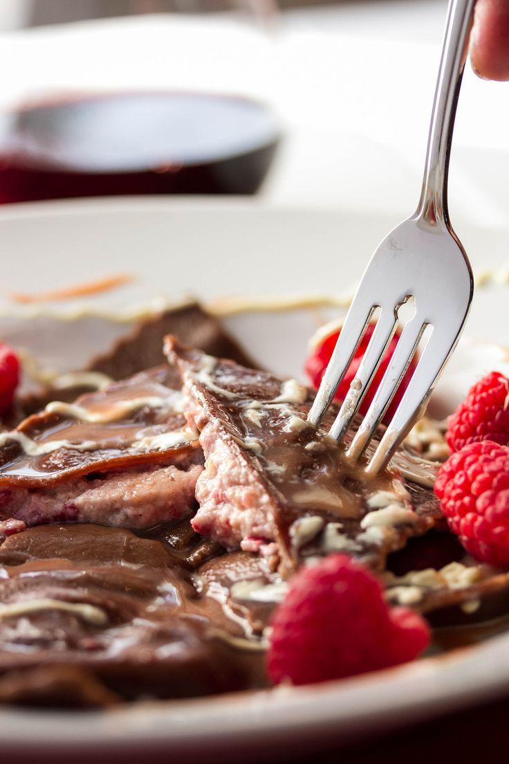 Chocolate Ravioli with Raspberry Cannoli filling and Raspberry White Chocolate Sauce