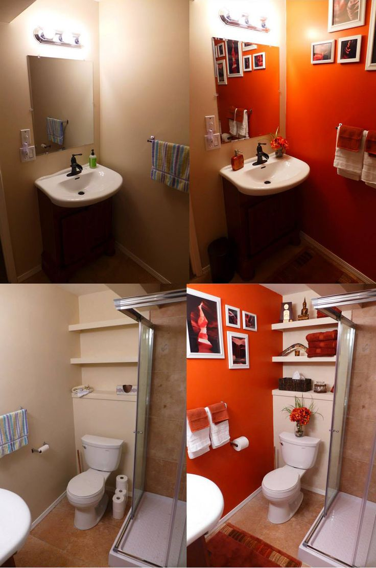 Orange Bathroom Before After Home Bathroom Pinterest Orange Bathrooms Accessories And